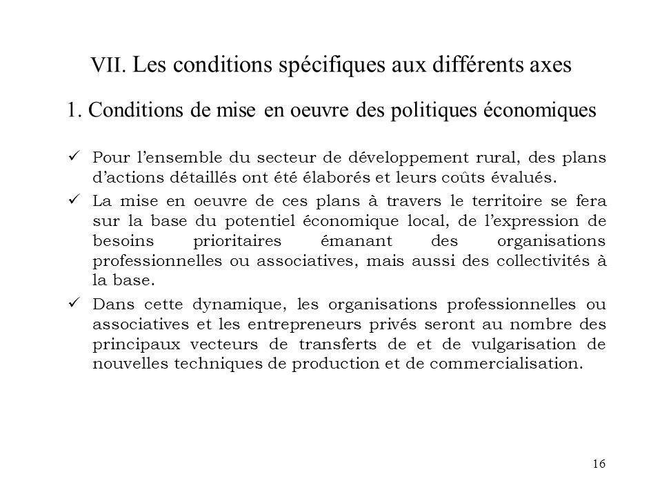 VII. Les conditions spécifiques aux différents axes 1