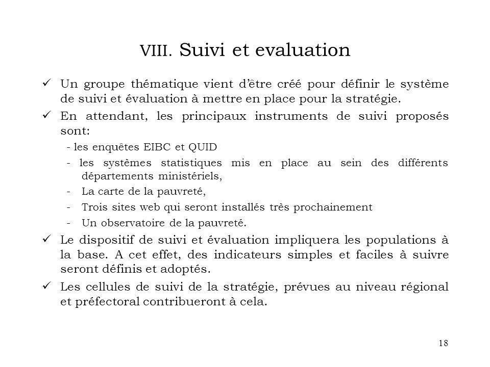 VIII. Suivi et evaluation
