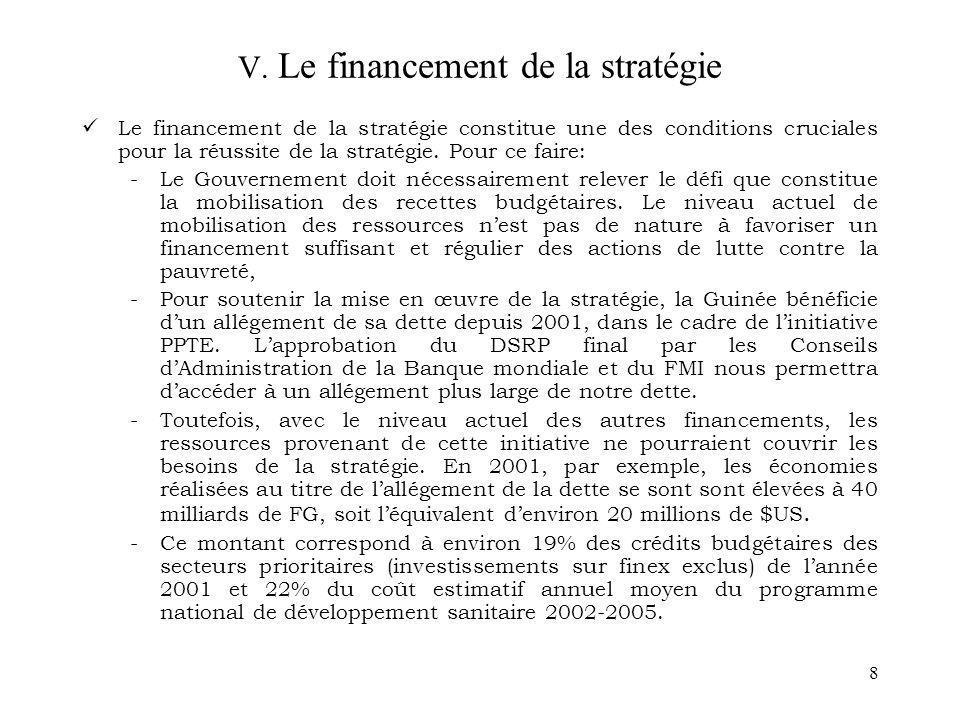 V. Le financement de la stratégie