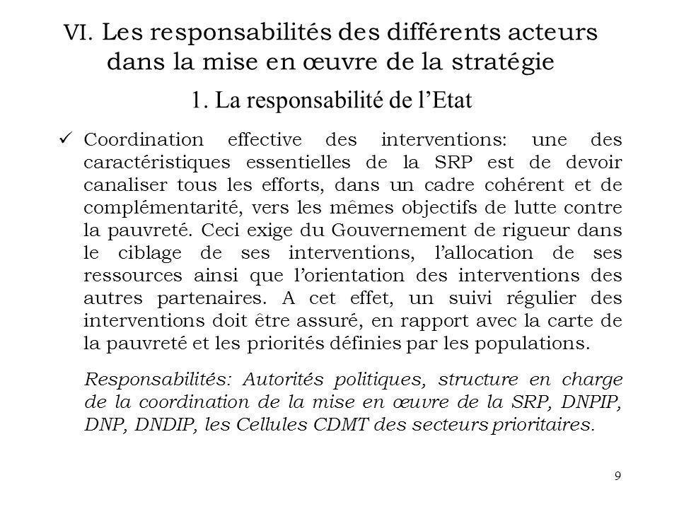 VI. Les responsabilités des différents acteurs dans la mise en œuvre de la stratégie 1. La responsabilité de l'Etat
