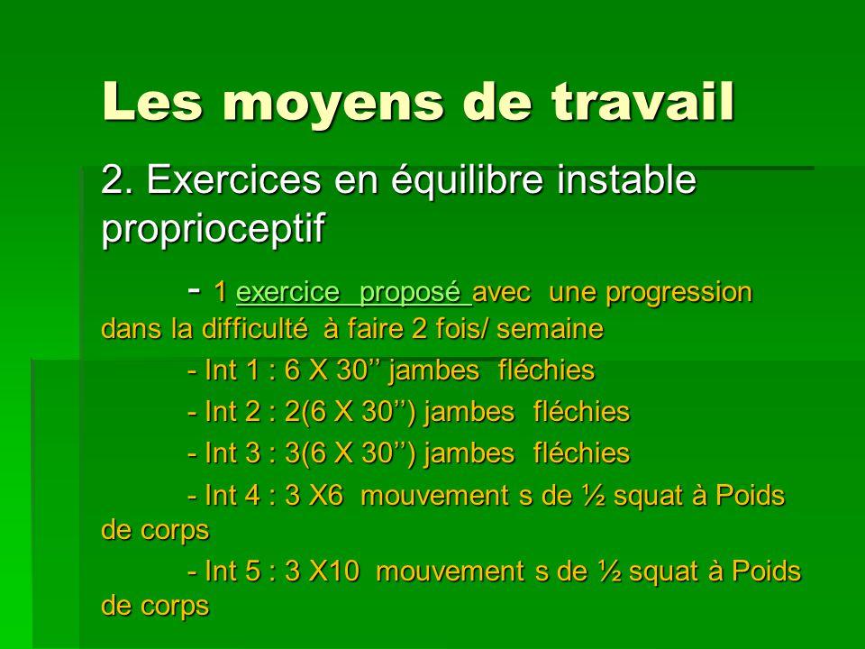 Les moyens de travail 2. Exercices en équilibre instable proprioceptif