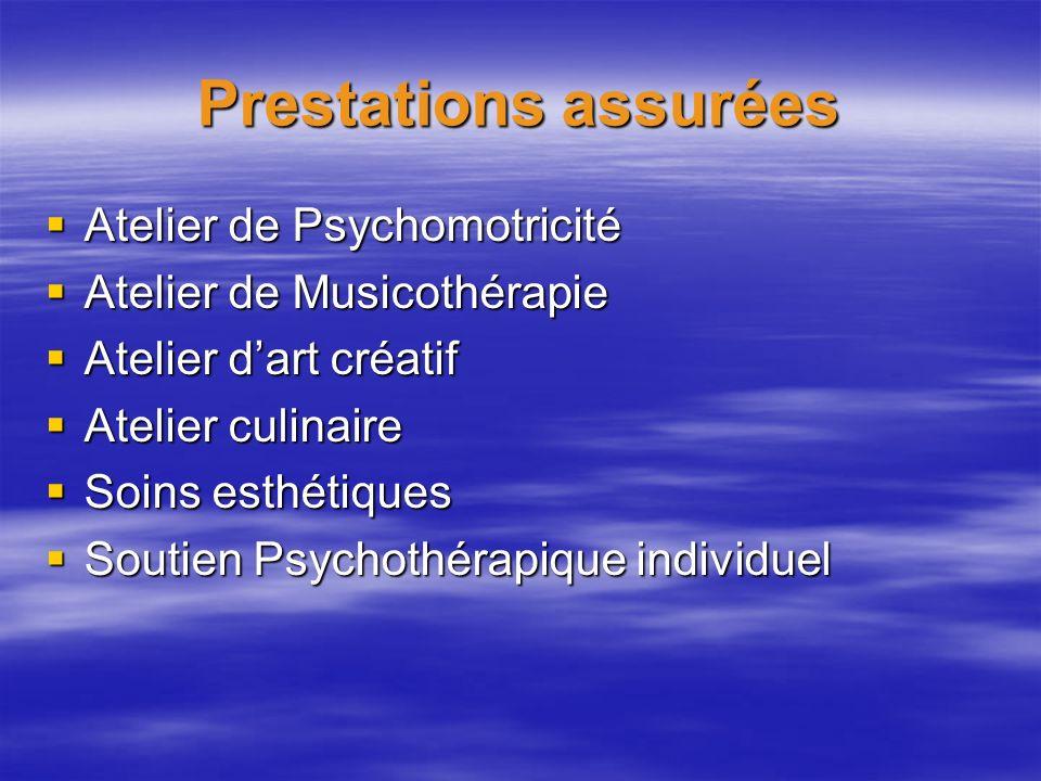 Prestations assurées Atelier de Psychomotricité
