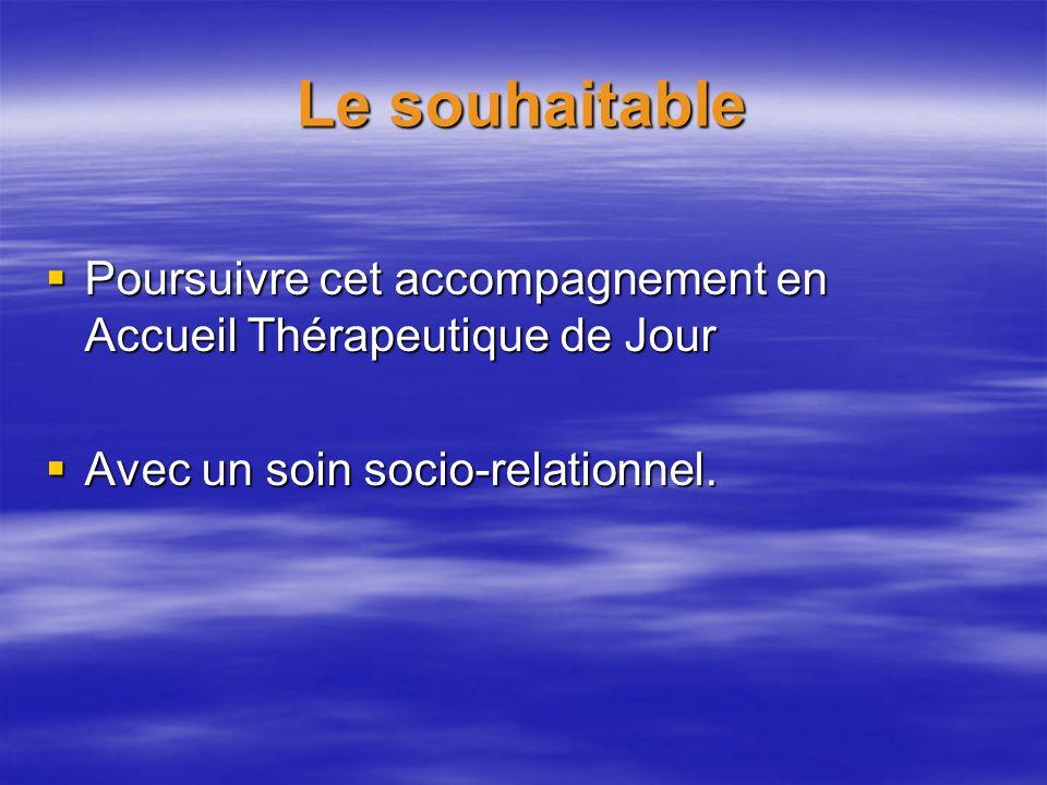 Le souhaitable Poursuivre cet accompagnement en Accueil Thérapeutique de Jour.
