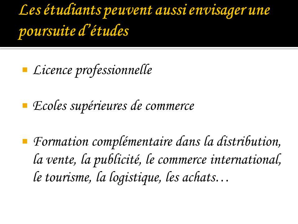 Les étudiants peuvent aussi envisager une poursuite d'études