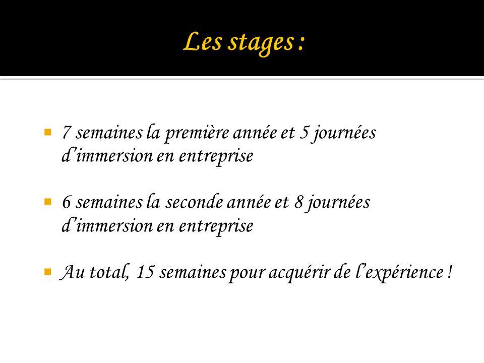 Les stages : 7 semaines la première année et 5 journées d'immersion en entreprise.