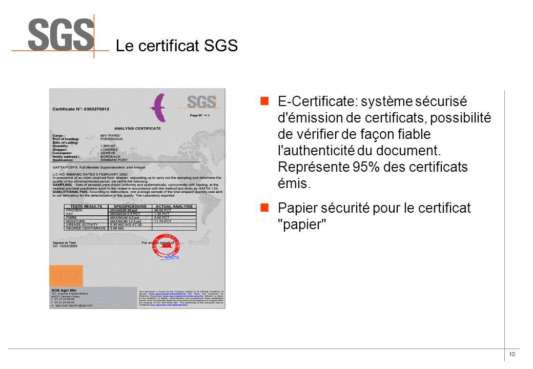 Le certificat SGS