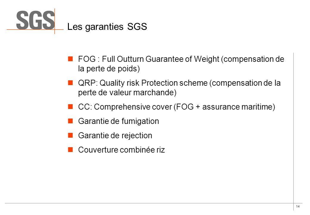Les garanties SGS FOG : Full Outturn Guarantee of Weight (compensation de la perte de poids)
