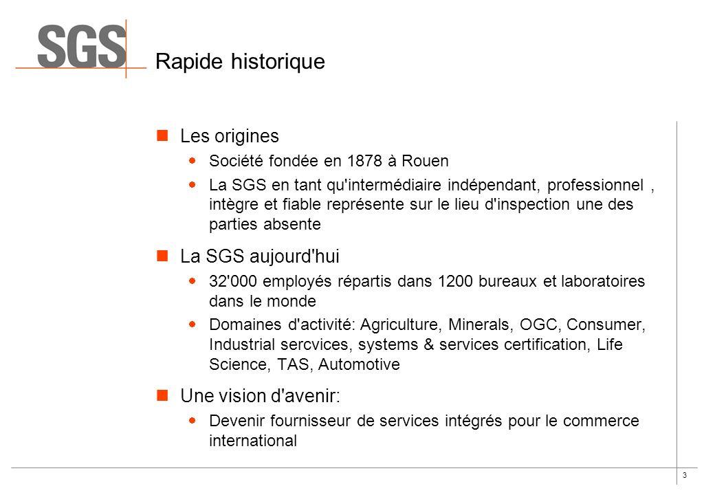 Rapide historique Les origines La SGS aujourd hui Une vision d avenir: