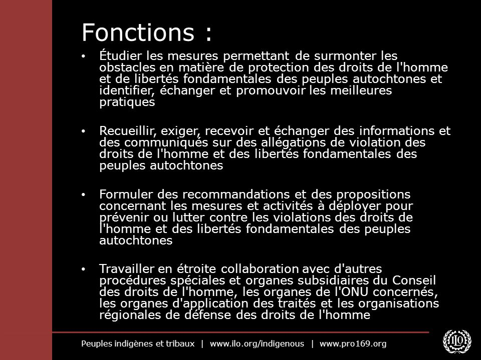 Fonctions :