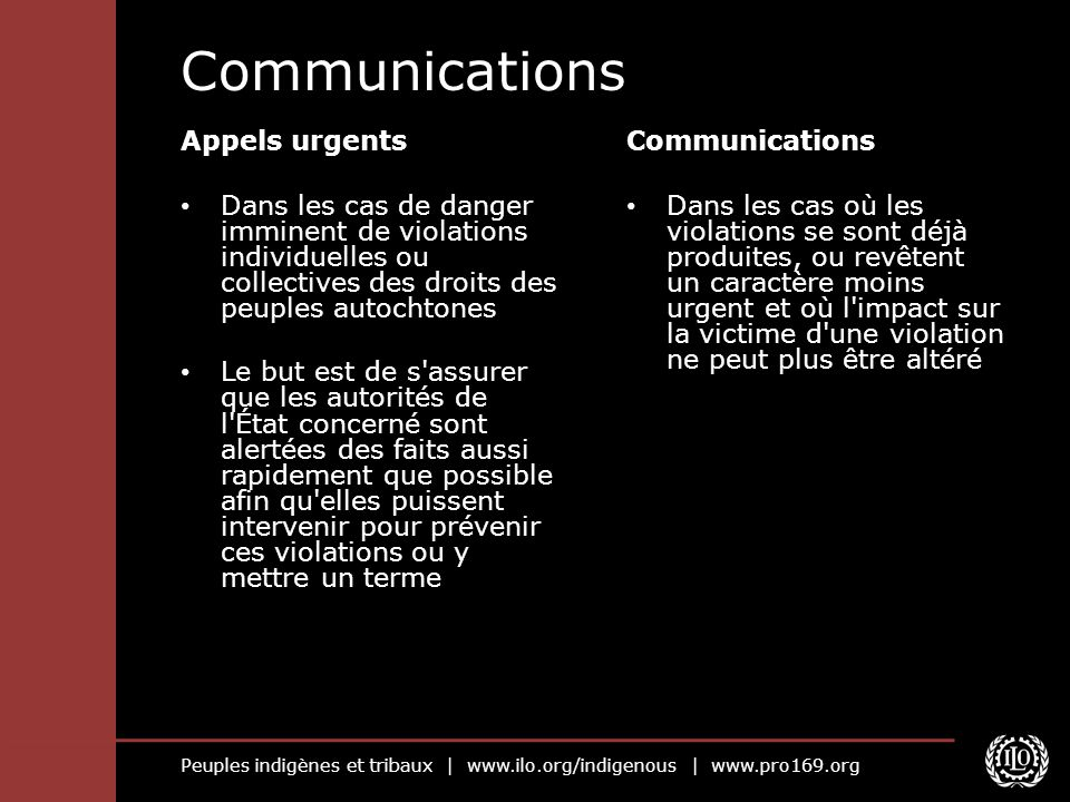 Communications Appels urgents