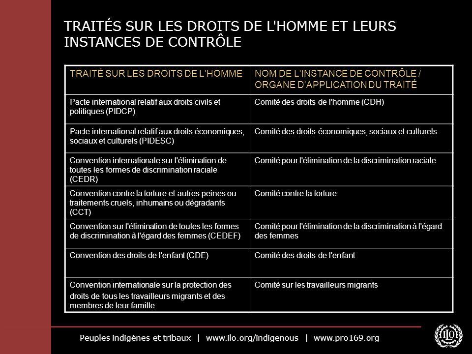 TRAITÉS SUR LES DROITS DE L HOMME ET LEURS INSTANCES DE CONTRÔLE
