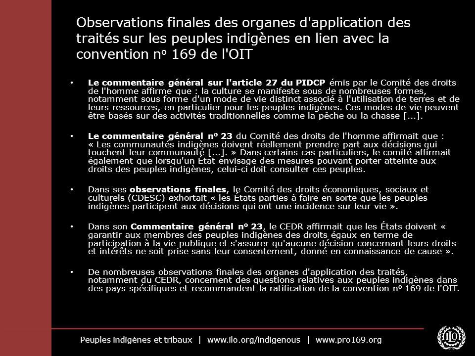 Observations finales des organes d application des traités sur les peuples indigènes en lien avec la convention no 169 de l OIT