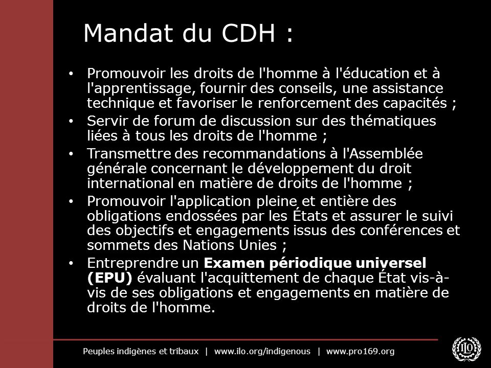 Mandat du CDH :