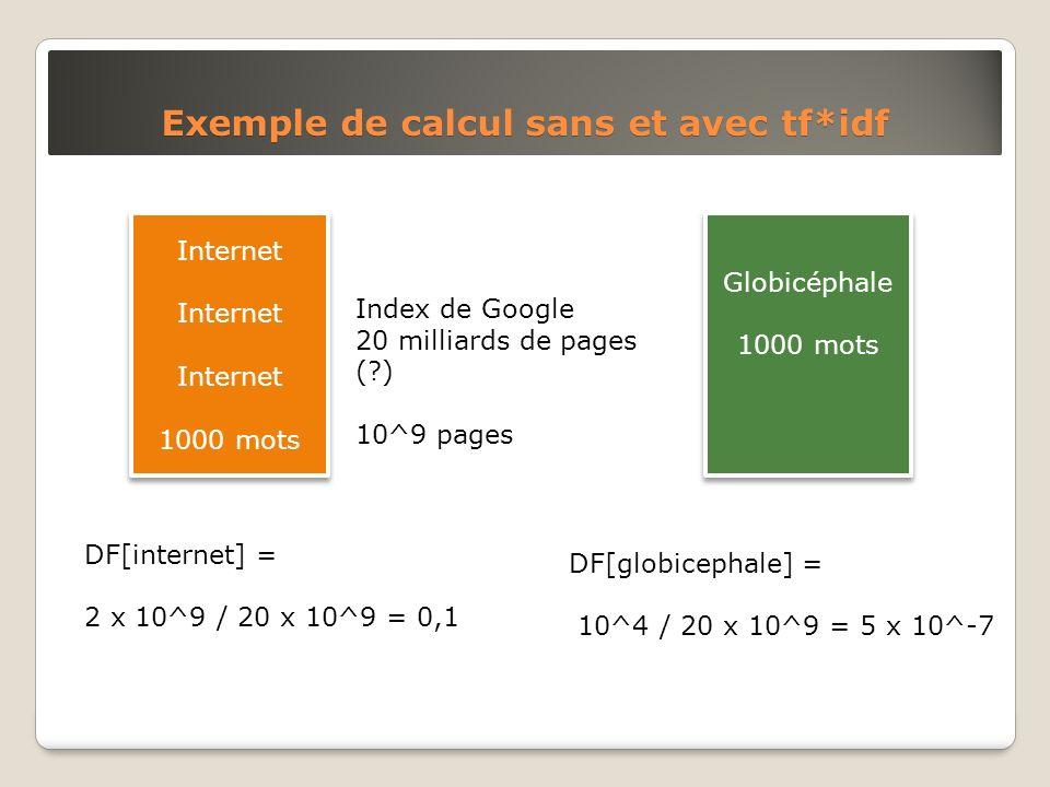 Exemple de calcul sans et avec tf*idf