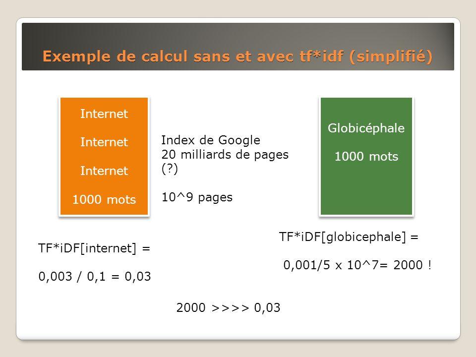 Exemple de calcul sans et avec tf*idf (simplifié)