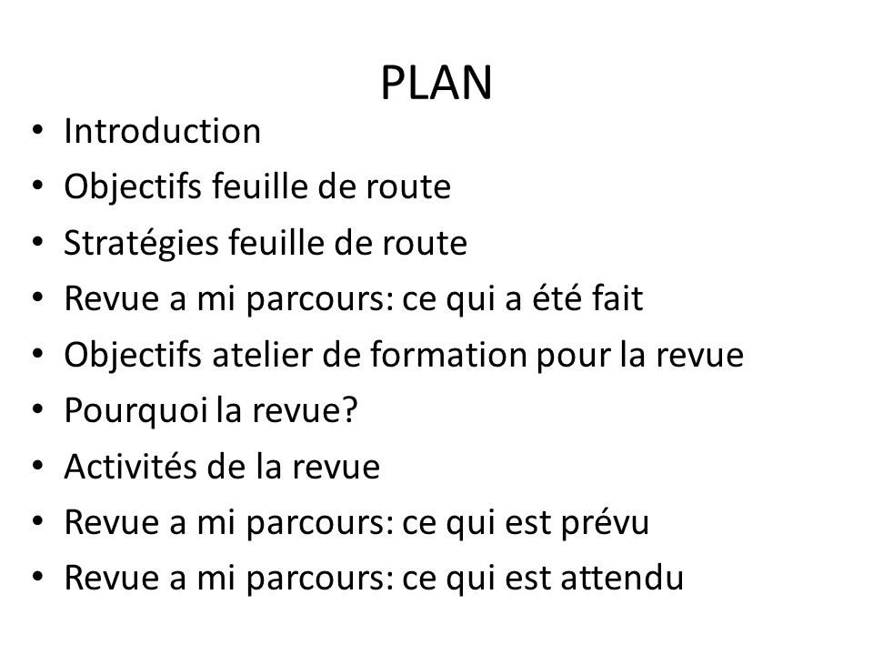 PLAN Introduction Objectifs feuille de route