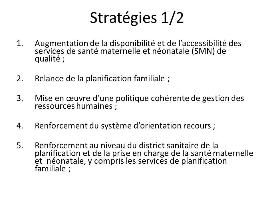 Stratégies 1/2 Augmentation de la disponibilité et de l'accessibilité des services de santé maternelle et néonatale (SMN) de qualité ;