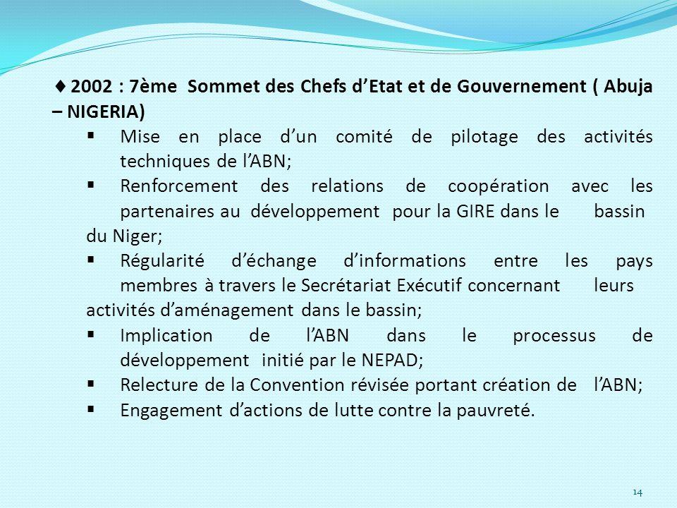 2002 : 7ème Sommet des Chefs d'Etat et de Gouvernement ( Abuja – NIGERIA)