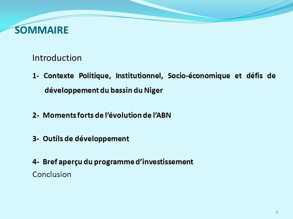 SOMMAIRE Introduction Conclusion