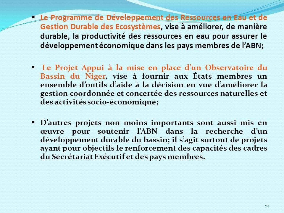 Le Programme de Développement des Ressources en Eau et de Gestion Durable des Ecosystèmes, vise à améliorer, de manière durable, la productivité des ressources en eau pour assurer le développement économique dans les pays membres de l'ABN;