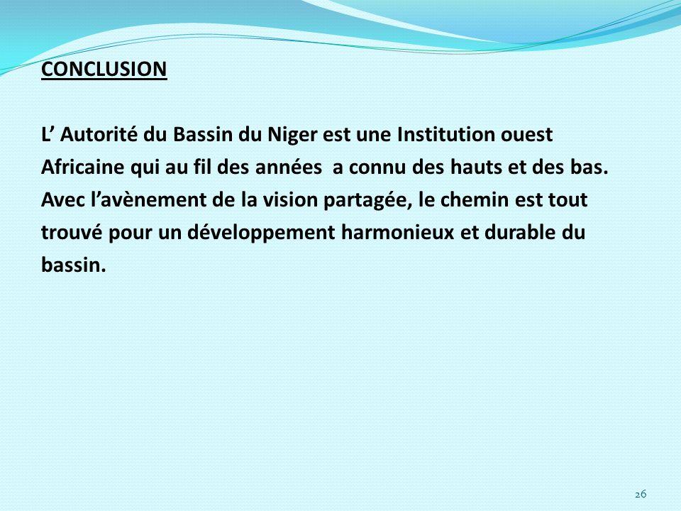 CONCLUSIONL' Autorité du Bassin du Niger est une Institution ouest. Africaine qui au fil des années a connu des hauts et des bas.
