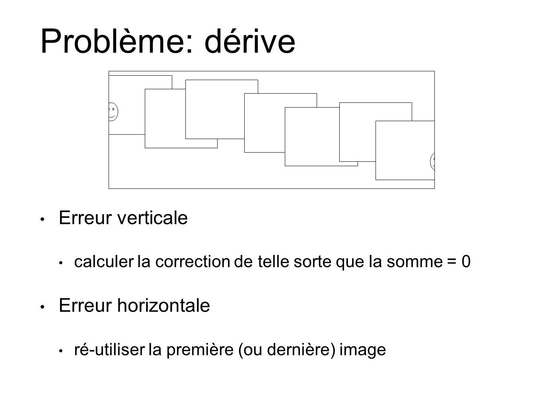 Problème: dérive Erreur verticale Erreur horizontale