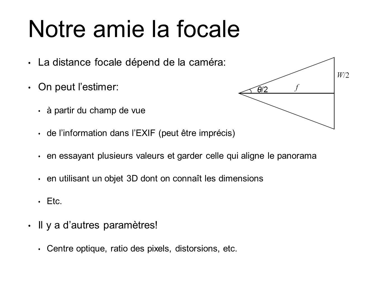 Notre amie la focale La distance focale dépend de la caméra: