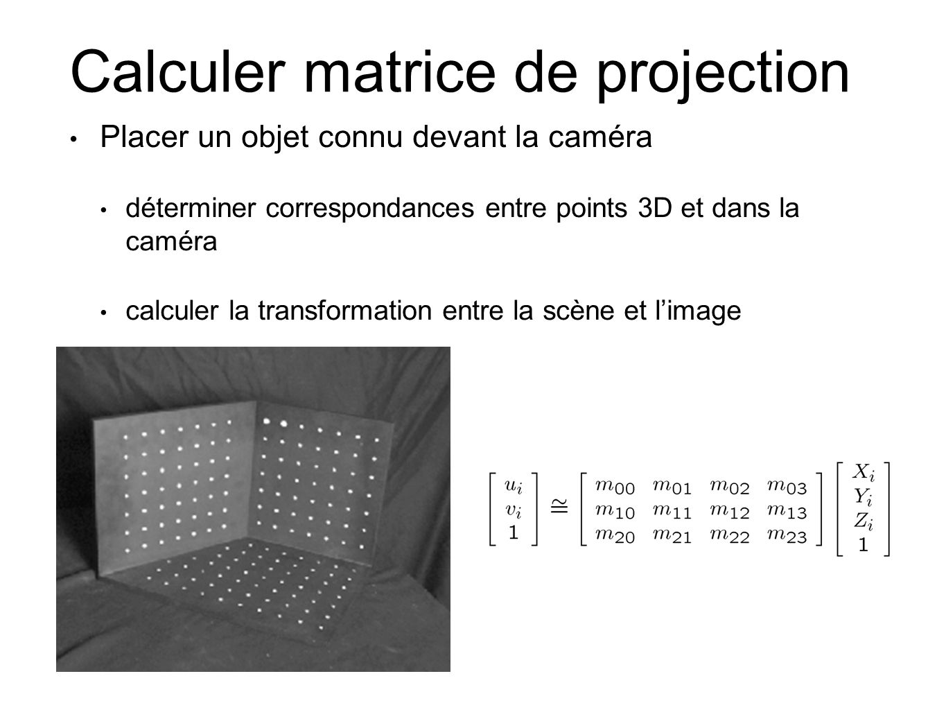 Calculer matrice de projection