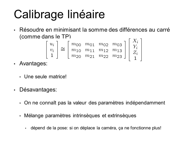 Calibrage linéaire Résoudre en minimisant la somme des différences au carré (comme dans le TP) Avantages: