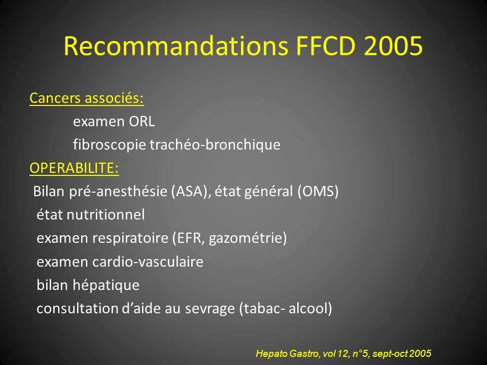 Recommandations FFCD 2005