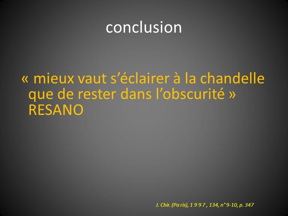conclusion « mieux vaut s'éclairer à la chandelle que de rester dans l'obscurité » RESANO.