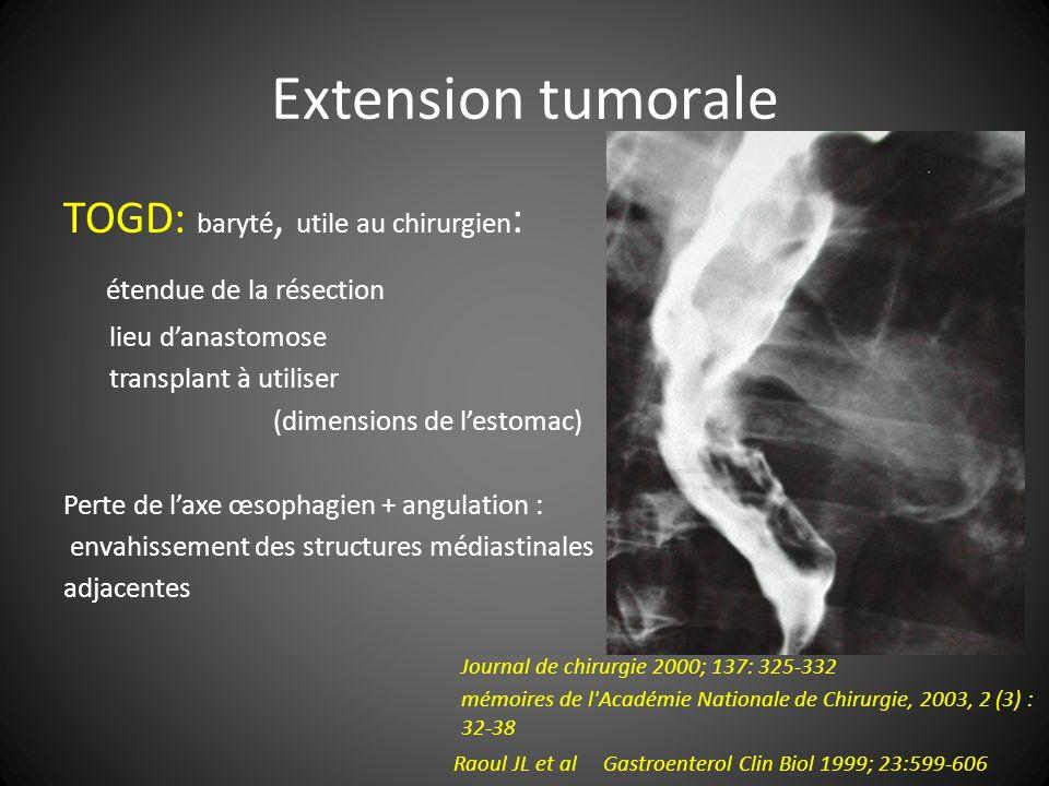 Extension tumorale TOGD: baryté, utile au chirurgien: