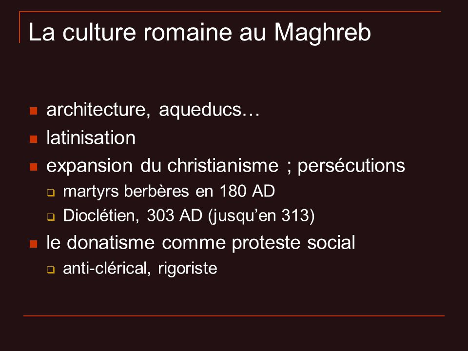 La culture romaine au Maghreb