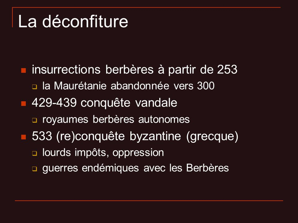 La déconfiture insurrections berbères à partir de 253