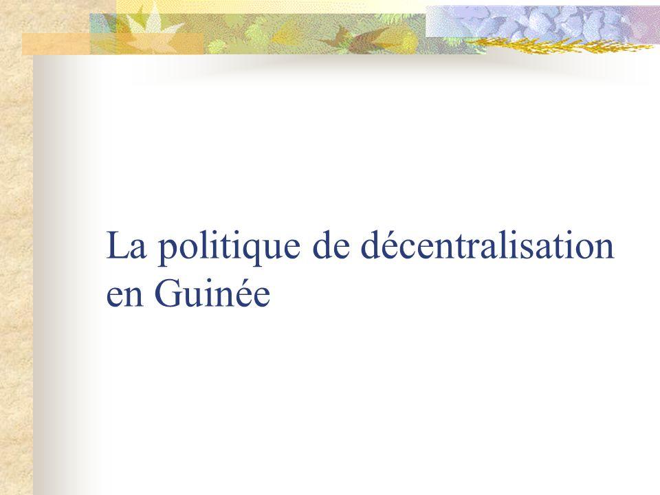 La politique de décentralisation en Guinée
