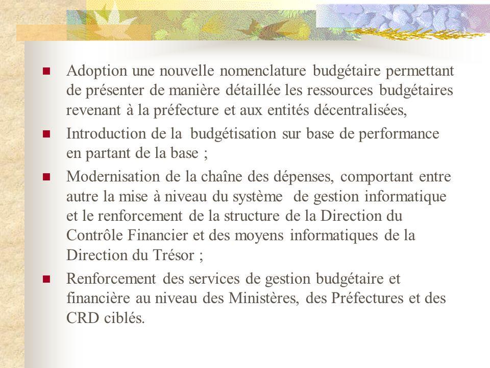 Adoption une nouvelle nomenclature budgétaire permettant de présenter de manière détaillée les ressources budgétaires revenant à la préfecture et aux entités décentralisées,