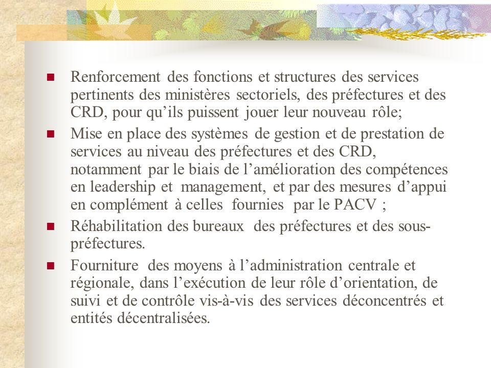 Renforcement des fonctions et structures des services pertinents des ministères sectoriels, des préfectures et des CRD, pour qu'ils puissent jouer leur nouveau rôle;