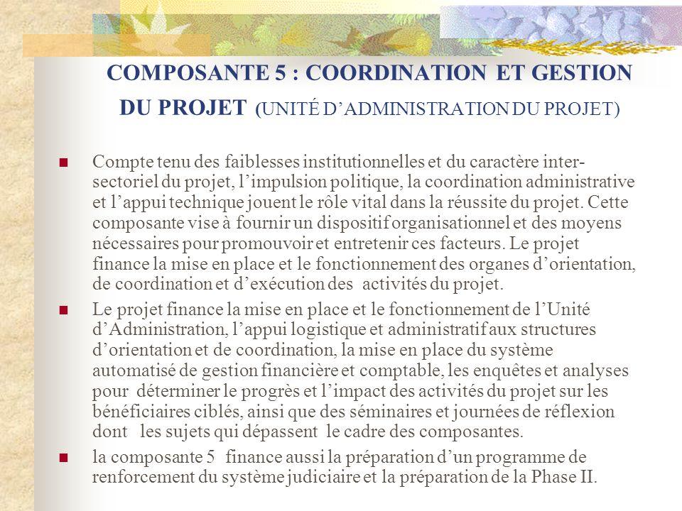 COMPOSANTE 5 : COORDINATION ET GESTION DU PROJET (UNITÉ D'ADMINISTRATION DU PROJET)