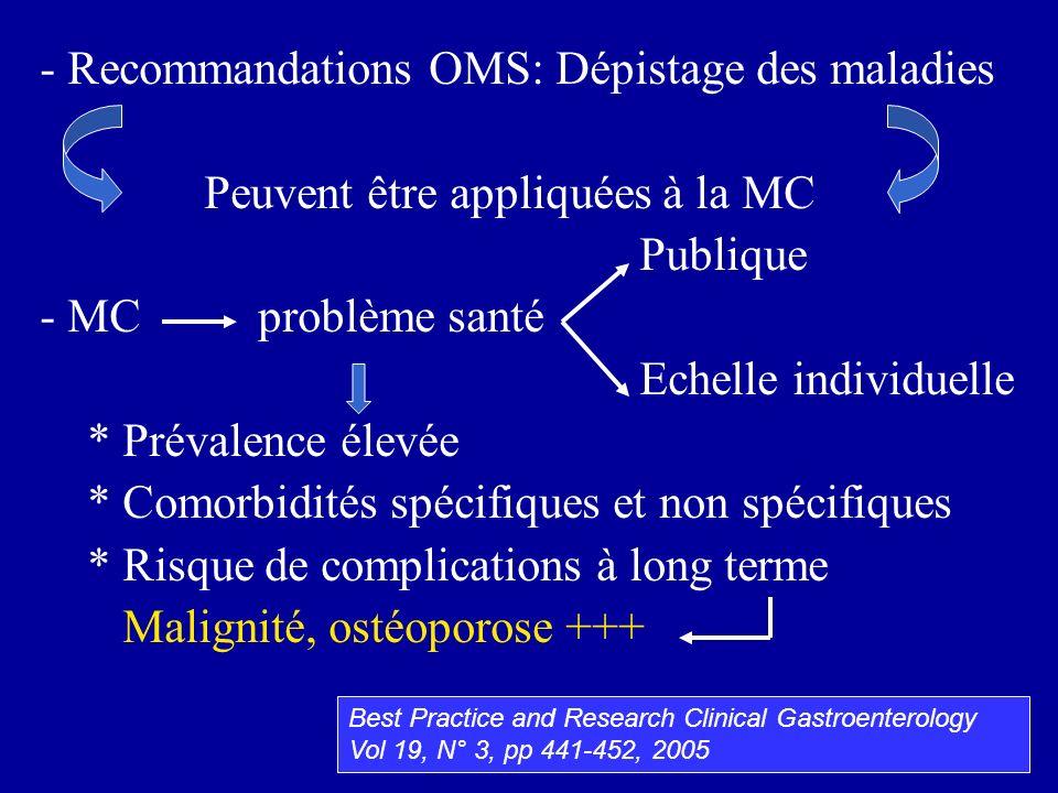 - Recommandations OMS: Dépistage des maladies