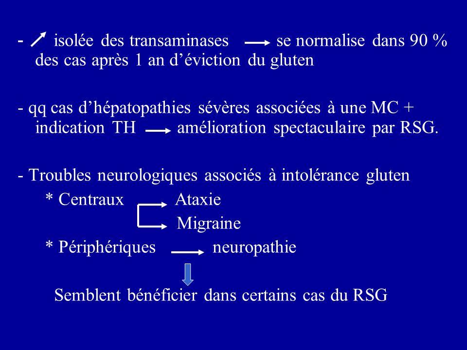 - isolée des transaminases se normalise dans 90 % des cas après 1 an d'éviction du gluten