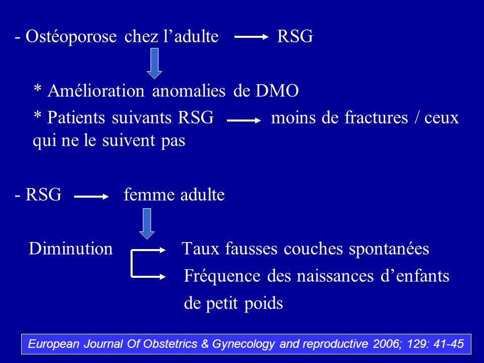 - Ostéoporose chez l'adulte RSG * Amélioration anomalies de DMO