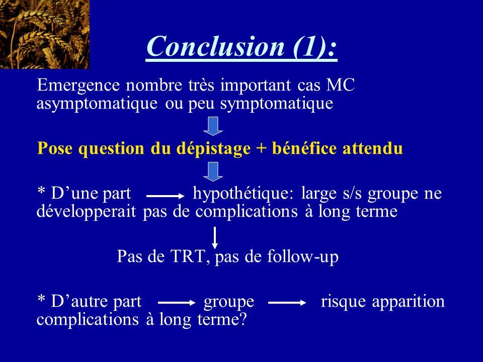 Conclusion (1): Emergence nombre très important cas MC asymptomatique ou peu symptomatique. Pose question du dépistage + bénéfice attendu.