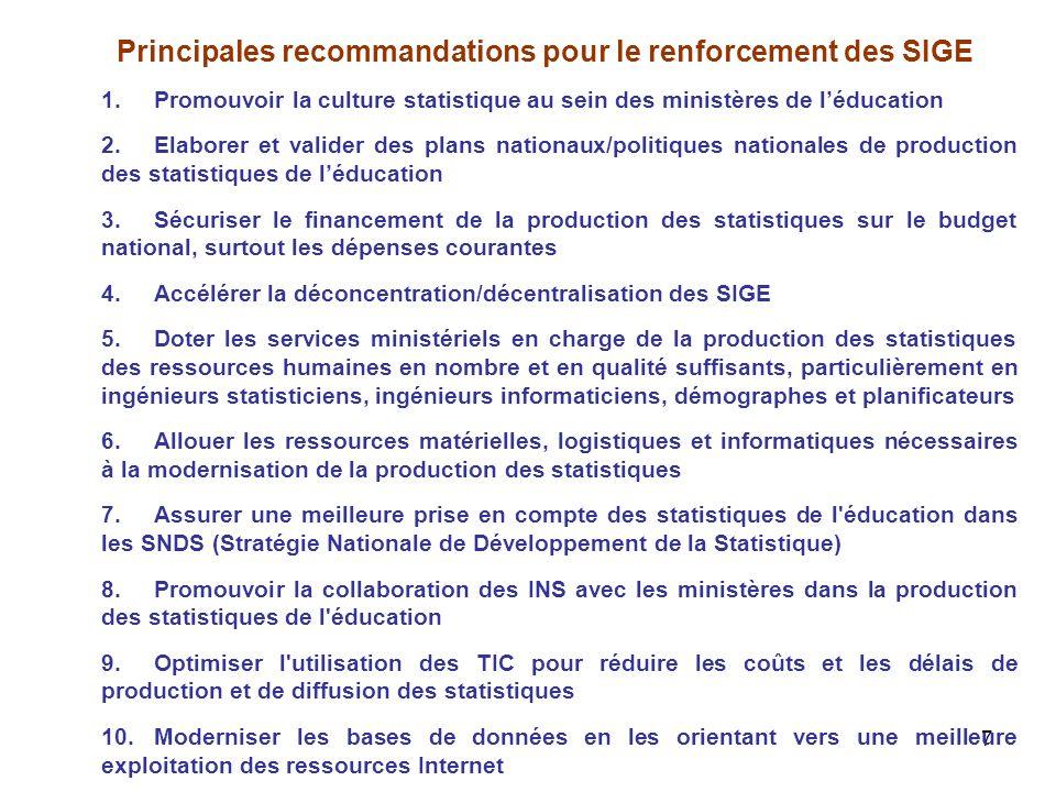 Principales recommandations pour le renforcement des SIGE