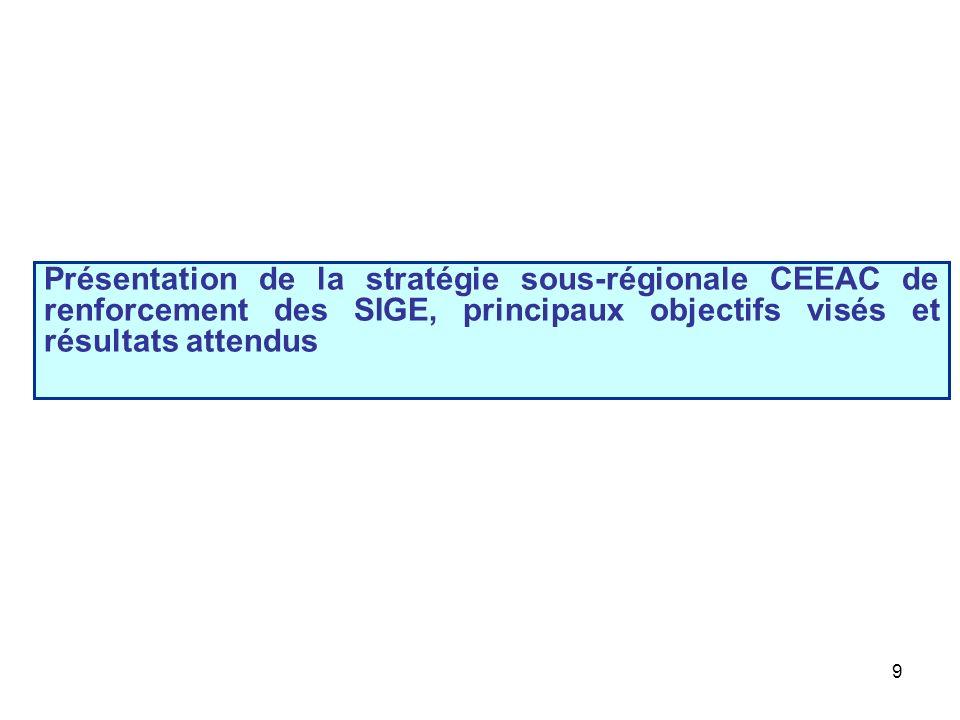 Présentation de la stratégie sous-régionale CEEAC de renforcement des SIGE, principaux objectifs visés et résultats attendus