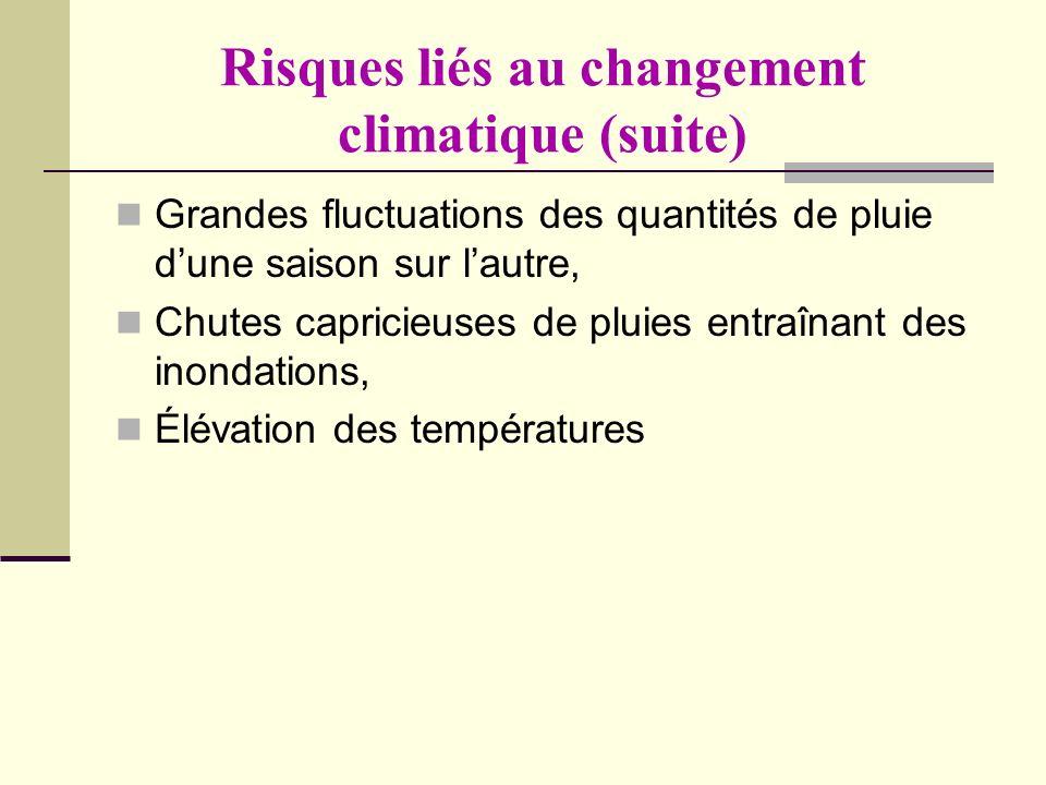 Risques liés au changement climatique (suite)