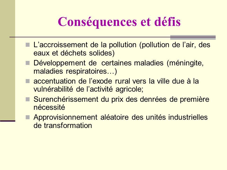 Conséquences et défis L'accroissement de la pollution (pollution de l'air, des eaux et déchets solides)