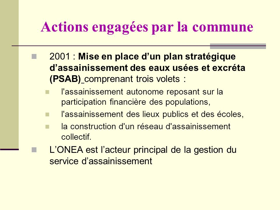 Actions engagées par la commune