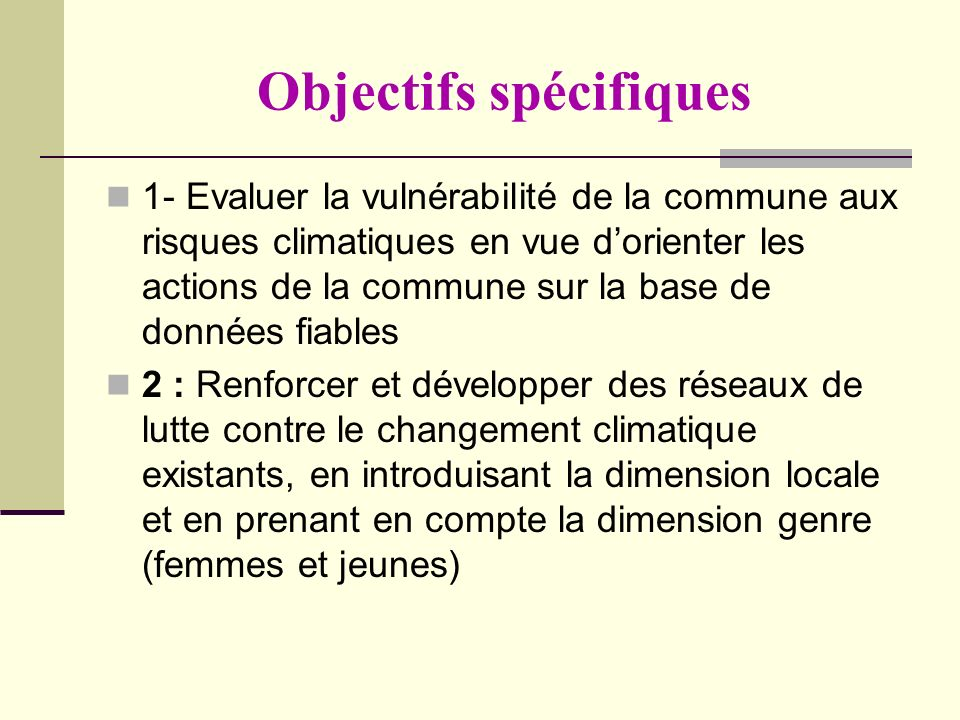 Objectifs spécifiques