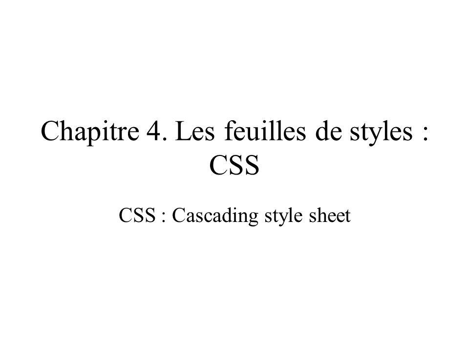 Chapitre 4. Les feuilles de styles : CSS