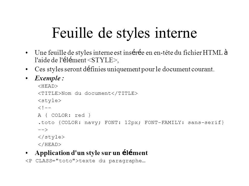 Feuille de styles interne